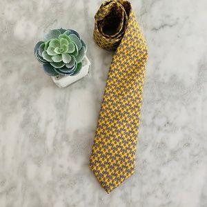 Brooks Brothers Horsebit Link Silk Tie Yellow Blue